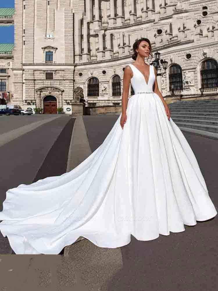 Chicloth Gorgeous V-Neck Sweep Train Ruffles Wedding Dresses