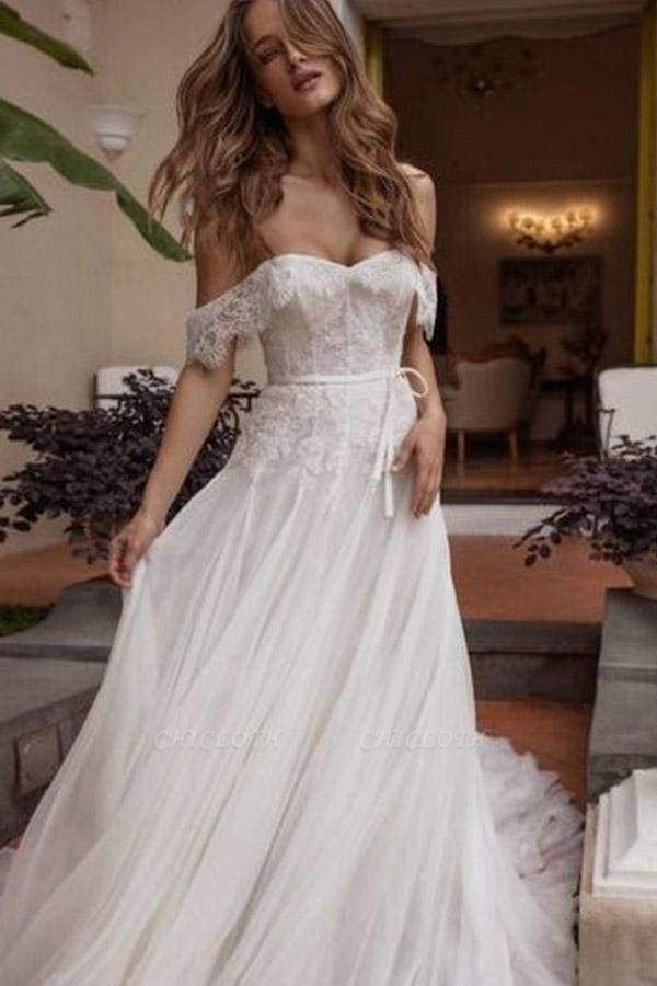 Chicloth A-line Off Shoulder Beach Lace Boho Wedding Dress
