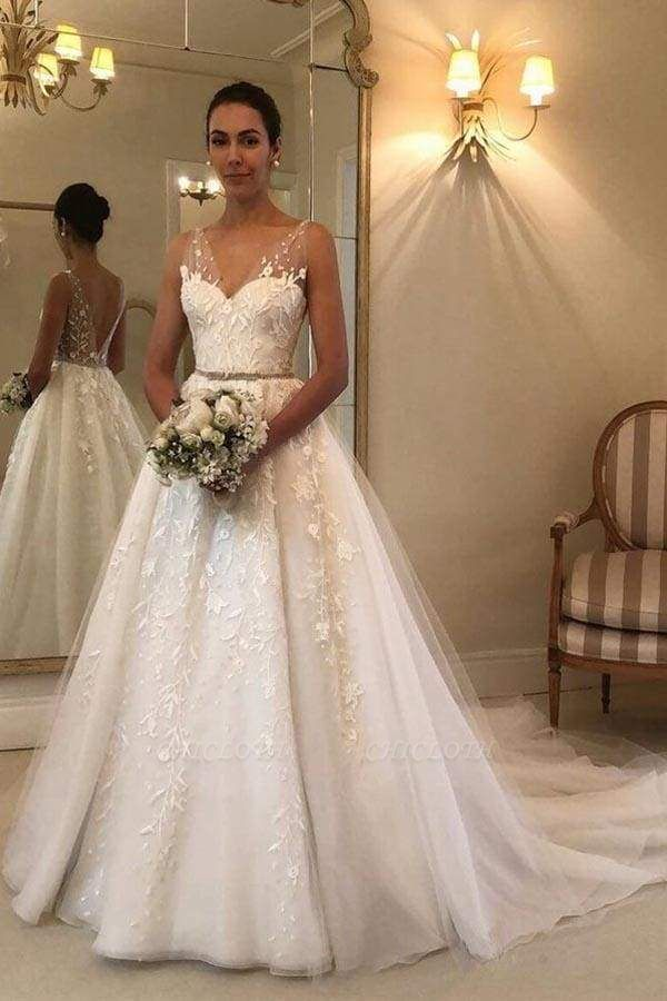 Chicloth Romantic V Neck Beach with Lace Appliques A Line Wedding Dress