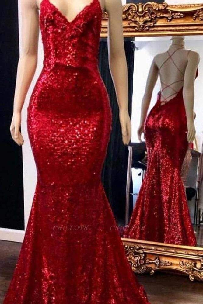 Chicloth Sparkly Sequins Prom Dress Mermaid with Spaghetti Straps Long Party Dresses