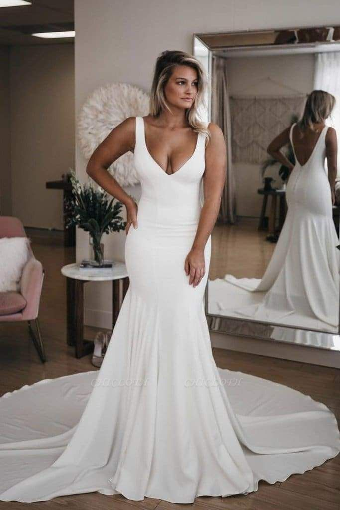 Chicloth Simple V Neck Mermaid with Long Train Sexy Backless Beach Wedding Dress