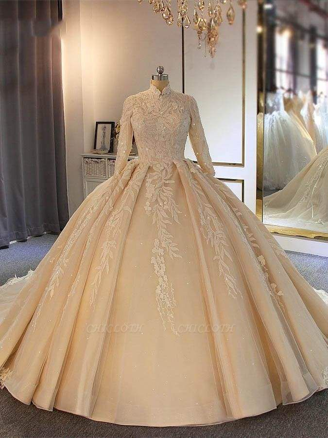Chicloth Exquisite High Collar Long Sleeve Lace-Up Ball Gown Wedding Dresses
