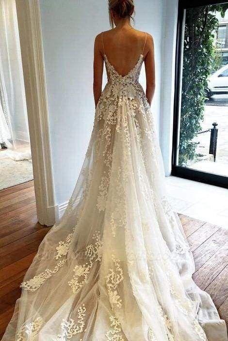Chicloth Stunning Appliques Lace Spaghetti Straps Wedding Dress
