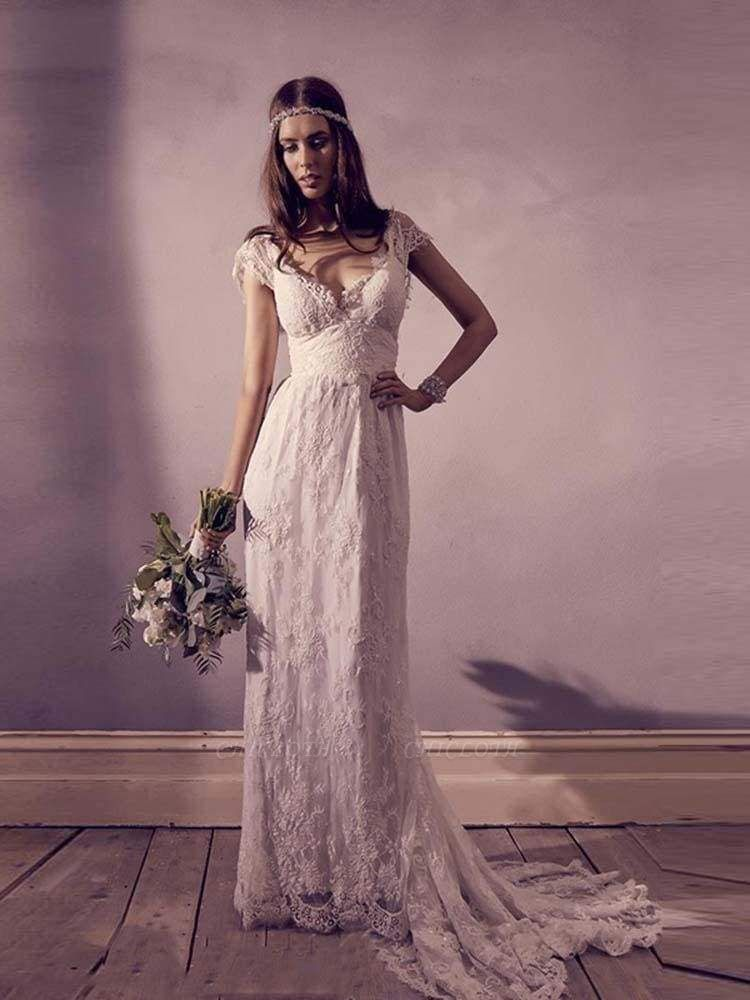 Chicloth Gorgeous V-Neck Cap Sleeves Lace A-Line Wedding Dresses