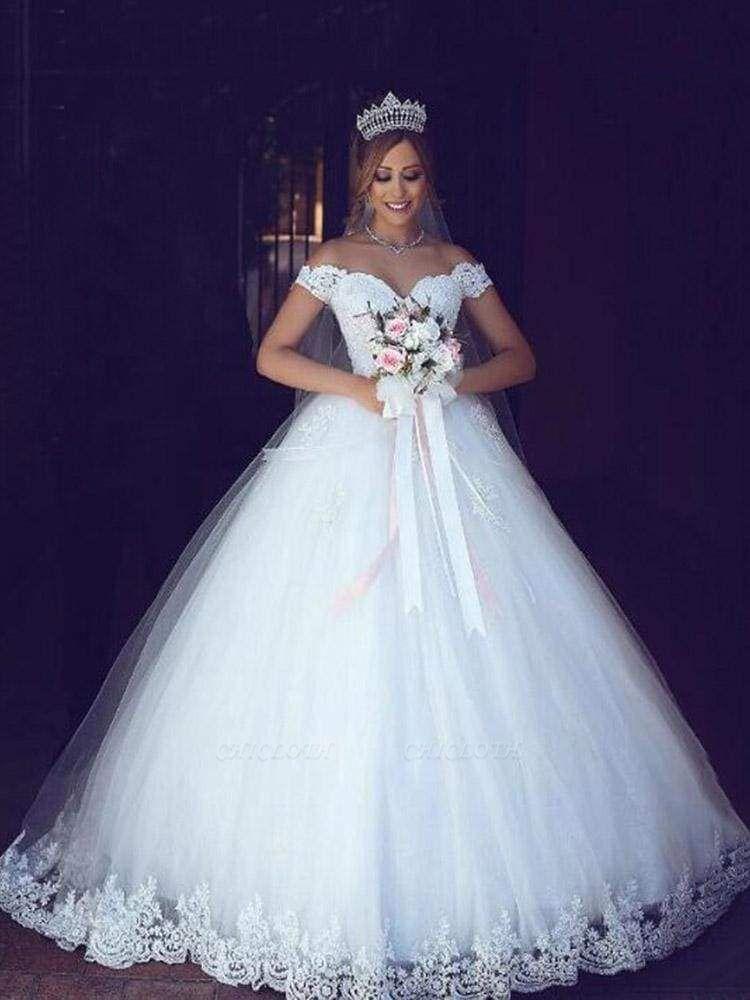 Chicloth Elegant Portrait Sleeveless Ball Gown Wedding Dresses