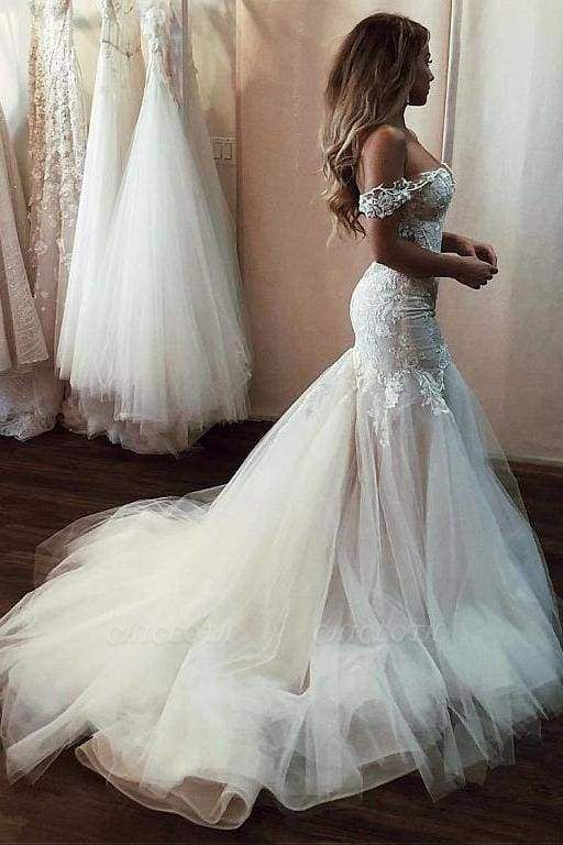 Chicloth Off the Shoulder Mermaid Lace Long Tulle Wedding Dress