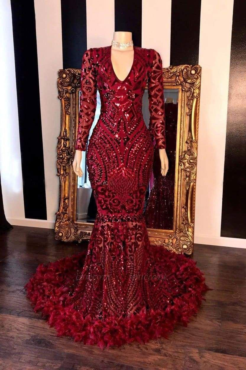 Chicloth Amazing Sequins V-neck Long Sleeve Mermaid Prom Dresses
