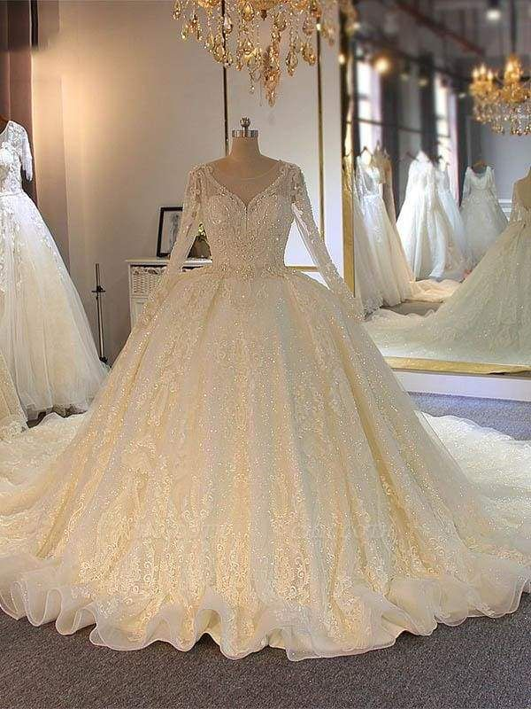 Chicloth Shinny Long Sleeves Lace-Up Wedding Dresses with Full Beading Shinny