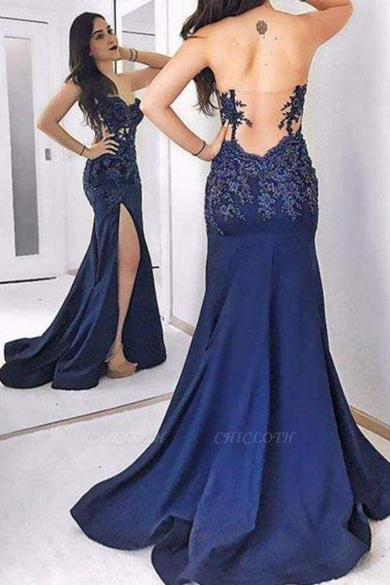Chicloth Dark Blue Strapless Long Evening Dress Sexy Sweetheart Appliqued Prom Dresses