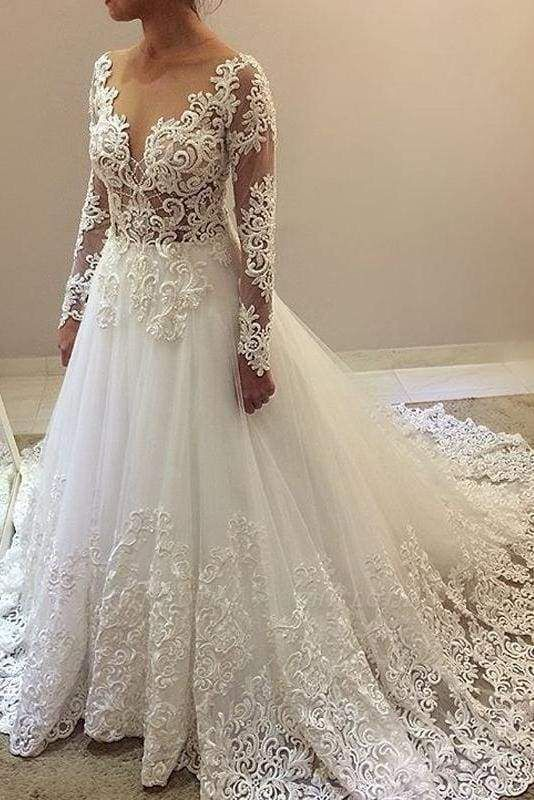 Chicloth Elegant Beading Lace Long Sleeve Sheer Neck Ball Gown Wedding Dress