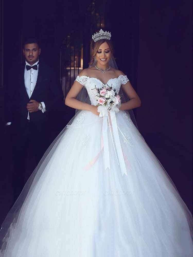 Chicloth Amazing Off-the- Shoulder Lace Ball Gown Tulle Wedding Dresses