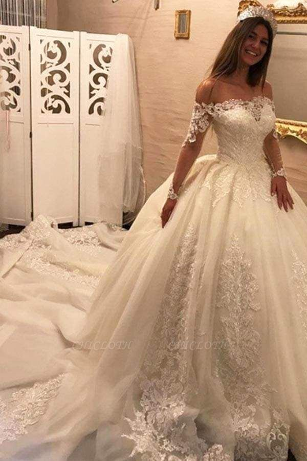 Chicloth Luxury Off the Shoulder Long Sleeve Ball Gown Chapel Train Appliques Wedding Dress