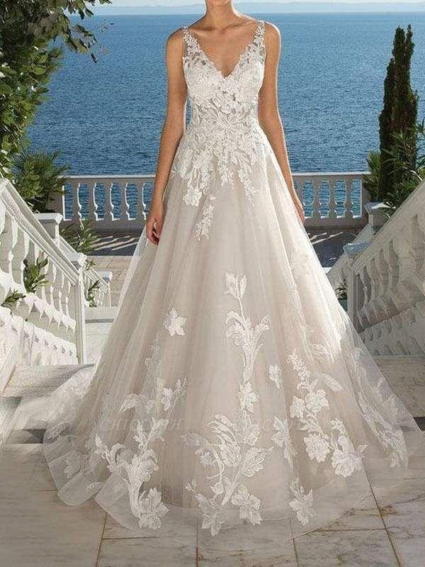 Chicloth Lace Appliques Open Back A-Line Wedding Dresses