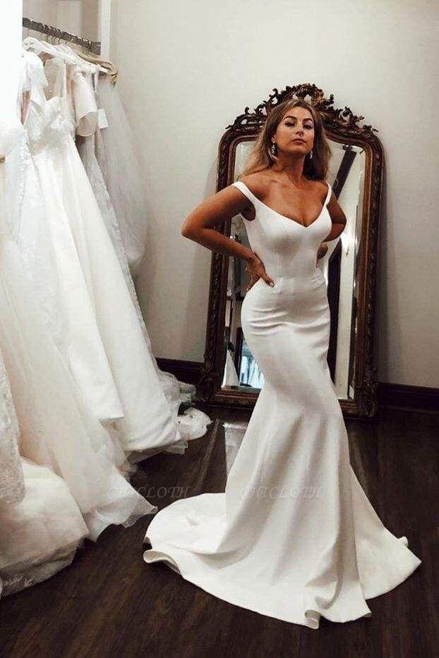 Chicloth Simple Off the Shoulder Beach Elegant Long Wedding Dress