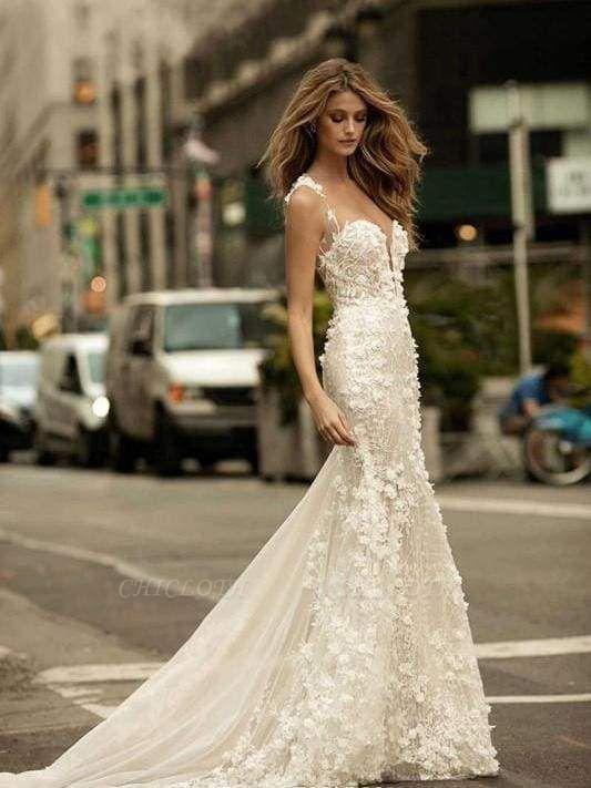 Chicloth Spaghetti Strap Floral Applique Covered Button Mermaid Wedding Dresses