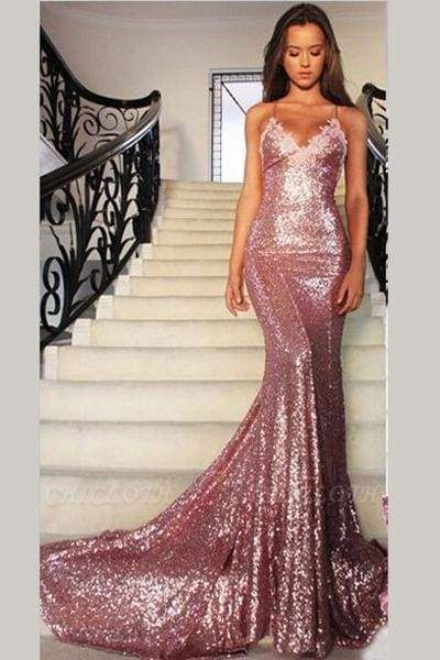 Chicloth Gorgeous Rose Gold Spaghetti Straps V-neck Mermaid Sequins Sweep Train Prom Dress