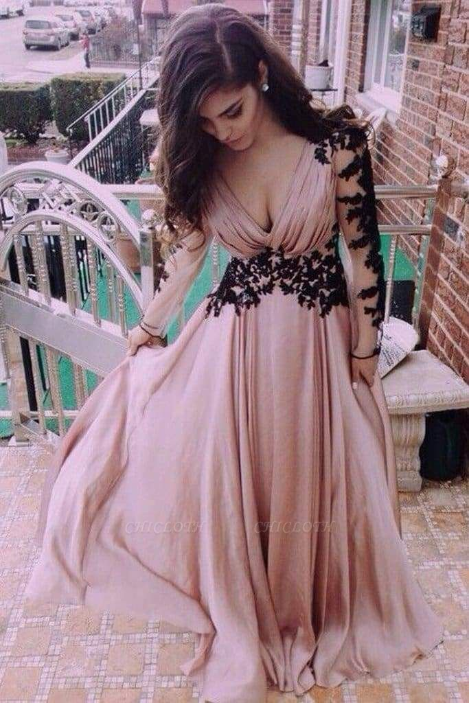 Chicloth V-Neck Long Sleeve Lace Prom Dress\/Evening Dress