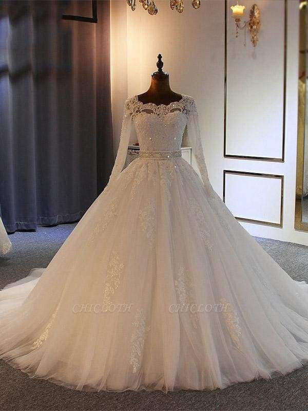 Chicloth Exquisite Bowknot Ball Gown Wedding Dresses with Long Sleeves