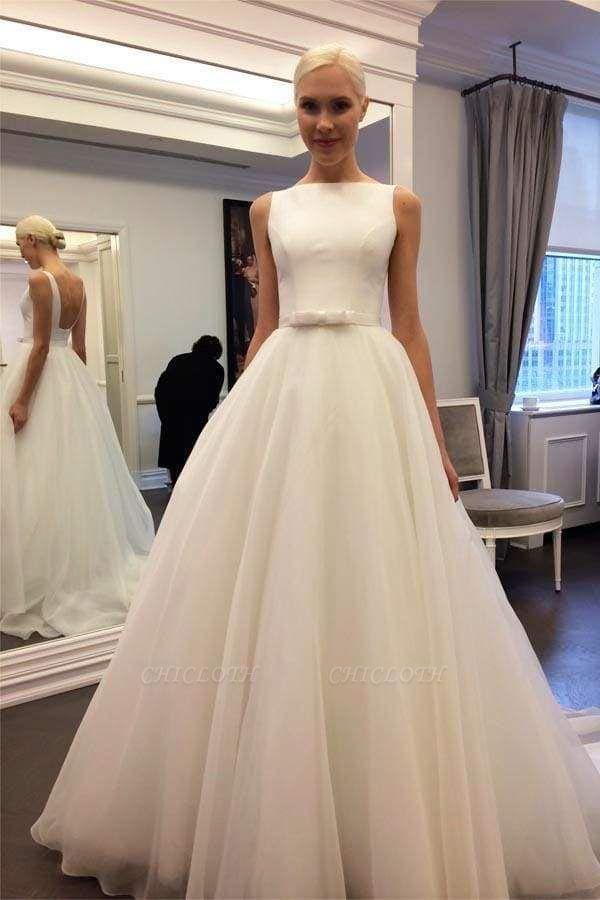 Chicloth Elegant Ivory Bateau Backless Sleeveless A-line Tulle Wedding Dress