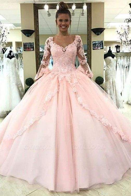 Chicloth Puffy Sleeve Prom Dress with Lace Pink Tulle Long Quinceanera Dresses