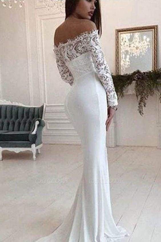 Chicloth Mermaid Long Sleeves Off the Shoulder Wedding Dress