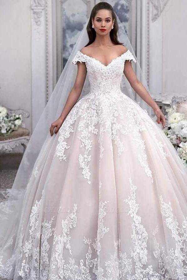 Chicloth Light Pink Off the Shoulder Ball Gown Tulle with Appliques Wedding Dress
