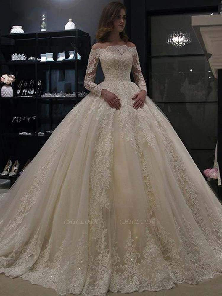 Chicloth Gorgeous Long Sleeves Lace Ball Gown Wedding Dresses