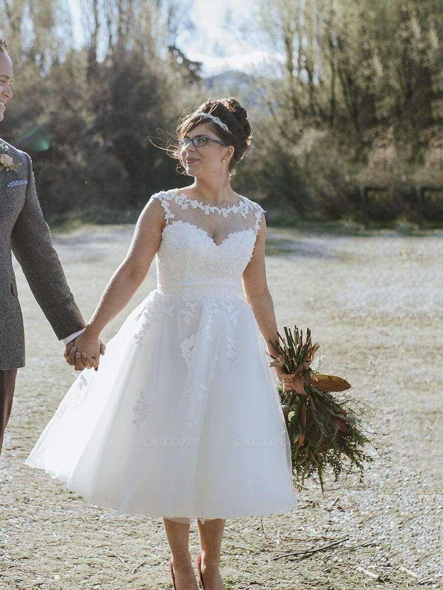 Chicloth Illusion Lace Short Wedding Dresses Tea Length Wedding Dresses