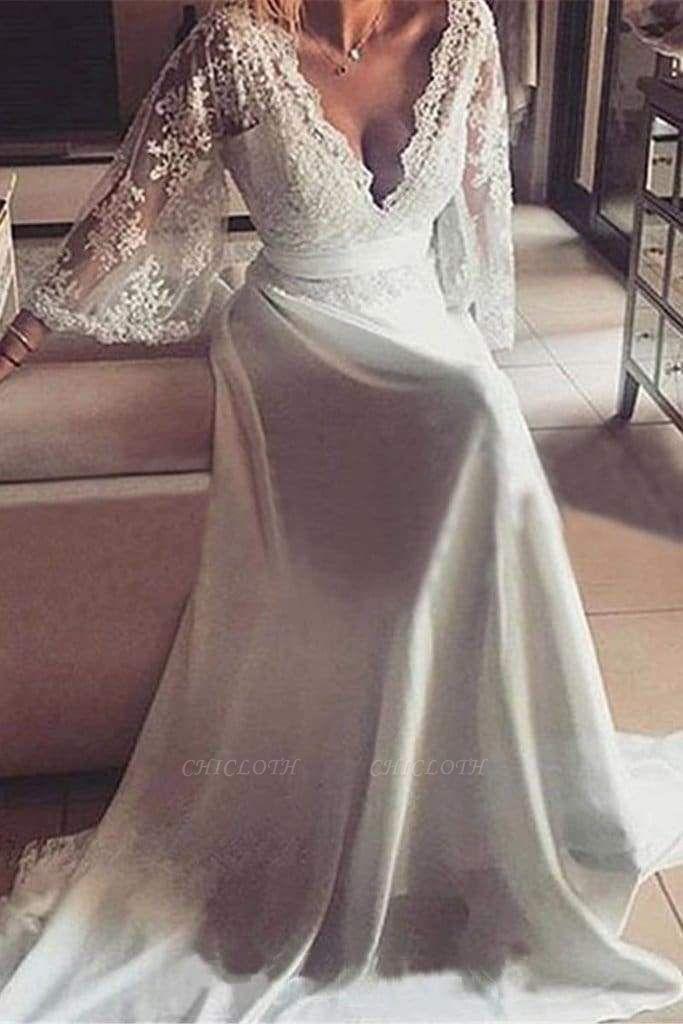 Chicloth Romantic Boho V Neck Lace Appliques Chiffon Long Beach Wedding Dress