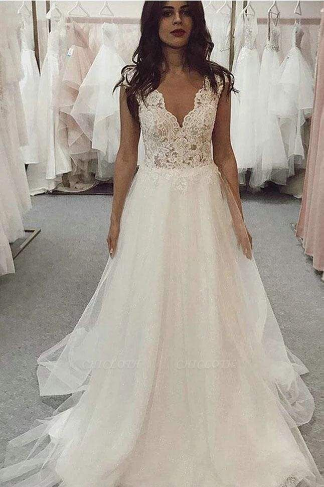 Chicloth A Line V Neck Tulle Beach with Ivory Lace Top Long Wedding Dress