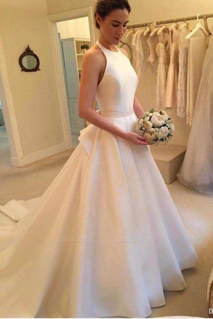 Chicloth A Line Halter Satin Simple Backless Sleeveless Wedding Dress with Bow