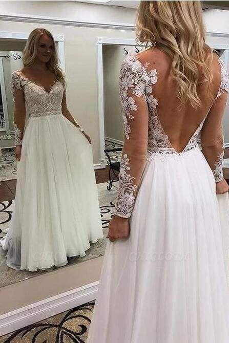 Chicloth A Line Floor Length Long Sleeves V Neck Tulle Beach Wedding Dress
