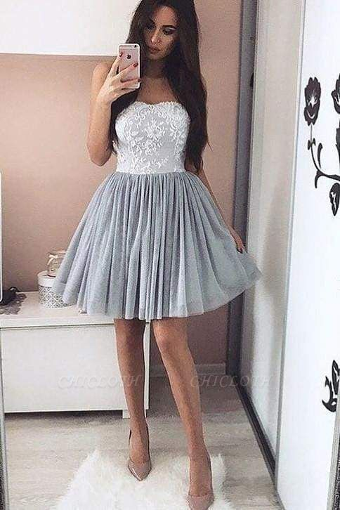 Chicloth Elegant Tulle Homecoming Appliques Short Prom Strapless Cocktail Dresses