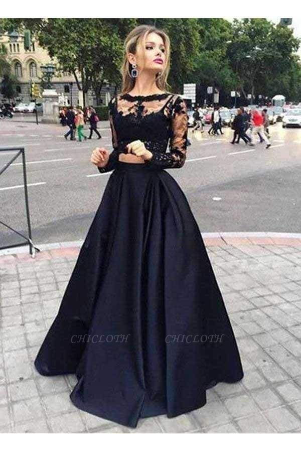 Chicloth Two Pieces Long Sleeves Lace Top And Satin Prom Dress Party Dresses