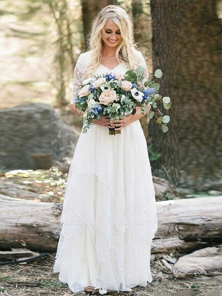 Chicloth Elegant Half Sleeves V-neck Lace Boho Wedding Dress