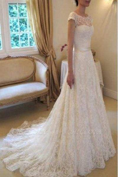 Chicloth Cap Sleeve Lace Long With Court Train Ivory Beach Wedding Dress