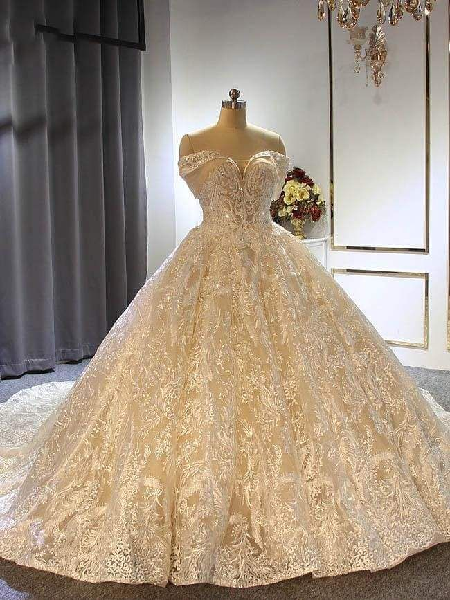 Chicloth Elegant Off the shoulder Lace-Up Ball Gown Wedding Dresses with Train