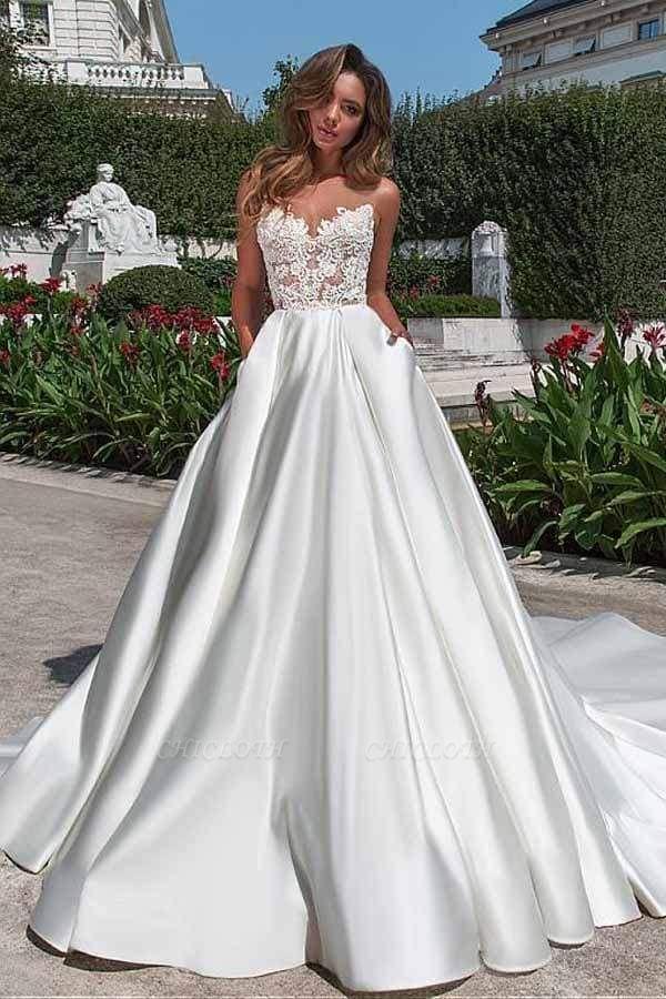 Chicloth Lace Appliques Pockets A-line Satin Wedding Dress