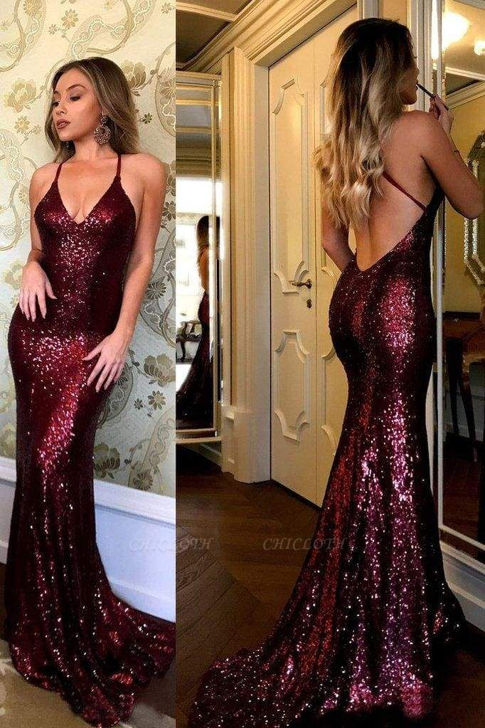 Chicloth Sparkling Burgundy Sequins Mermaid V-neck Sweep Train Party Dress Prom Gown