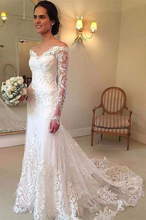 Chicloth White Long Sleeves Off the Shoulder Mermaid Lace Beach Sexy Wedding Dress