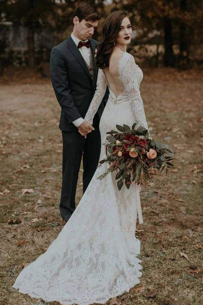 Chicloth Vintage Long Sleeves Backless Rustic Lace Wedding Dress