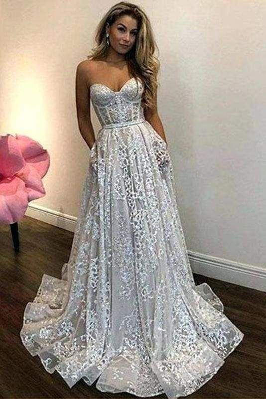 Chicloth Vintage Ivory Sweetheart Beautiful Cheap Lace Wedding Dress