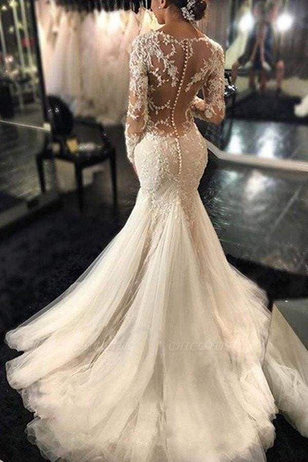 Chicloth Gorgeous Long Sleeves Mermaid V-neck Gown Ivory Wedding Dress