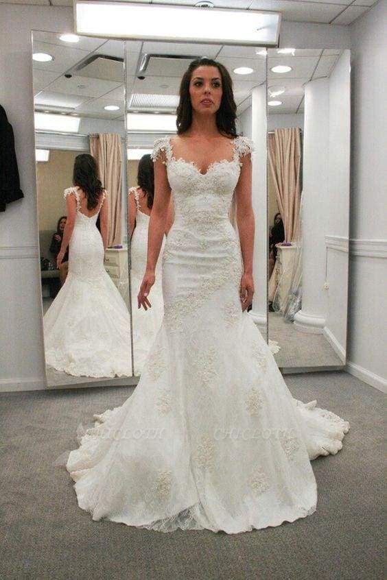 Chicloth Sweetheart Cap Sleeves Backless Mermaid Gowns Beach Wedding Dress