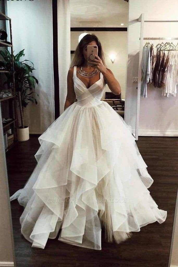 Chicloth Puffy Straps Long Beach Unique Cascading Ruffles Wedding Dress