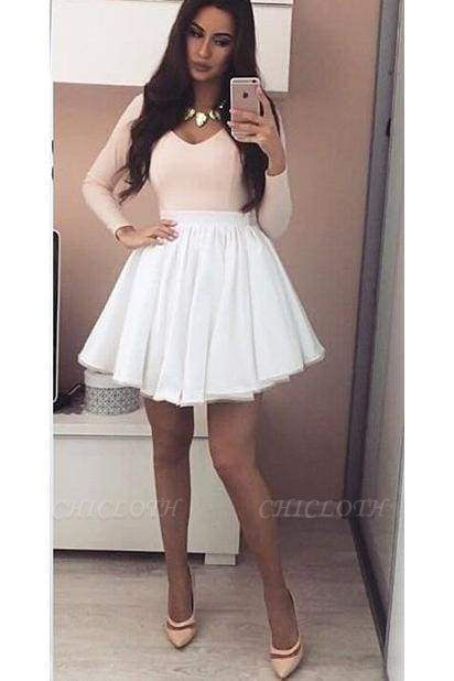 Chicloth Pink Long Sleeves V-neck Homecoming Dress with White Skirt Mini Grad Dresses