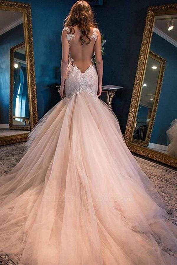 Chicloth Gorgeous Mermaid Sweetheart Sleeveless Watteau Train Tulle Wedding Dress