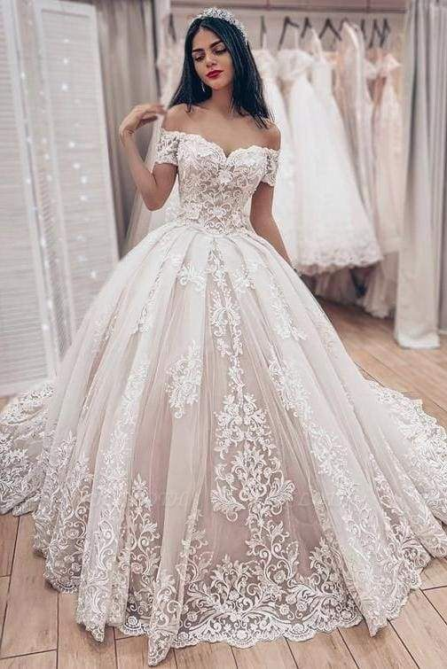 Chicloth Ball Gown Off the Shoulder with Lace Appliques Gorgeous Wedding Dress