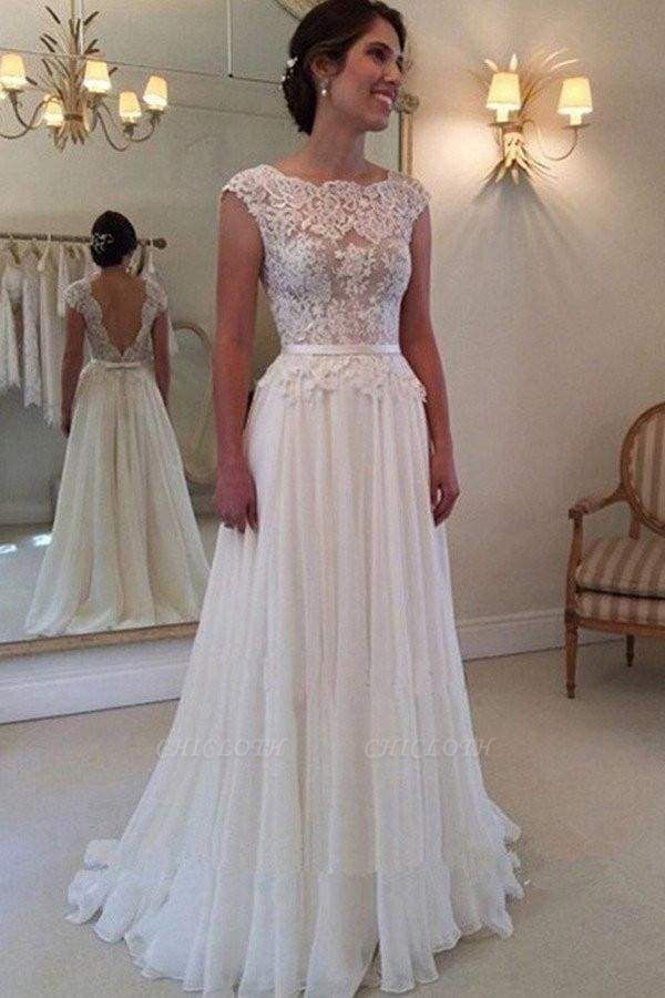 Chicloth A-line Lace Appliqued Cap Sleeves Ivory Chiffon Long Beach Wedding Dress
