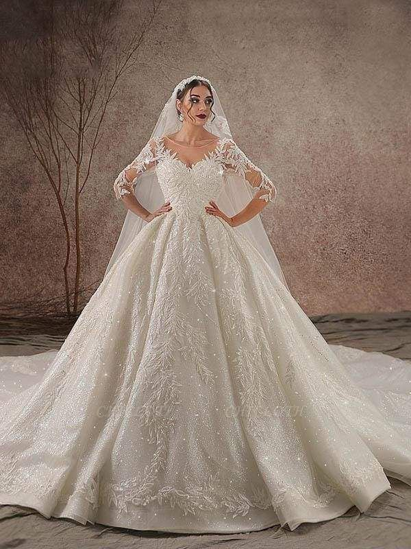 Chicloth Luxury Shinny Three Quarter Sleeve Lace Beading Ball Gown Wedding Dresses